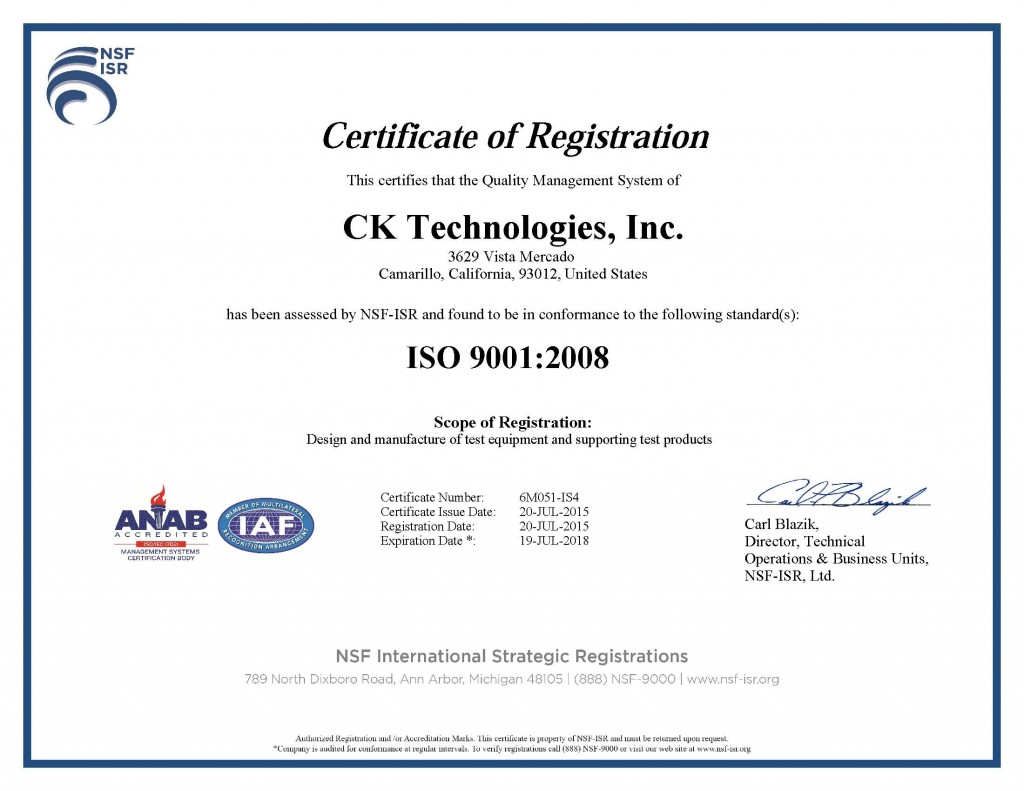 CK Technologies, Inc. 9001 Cert