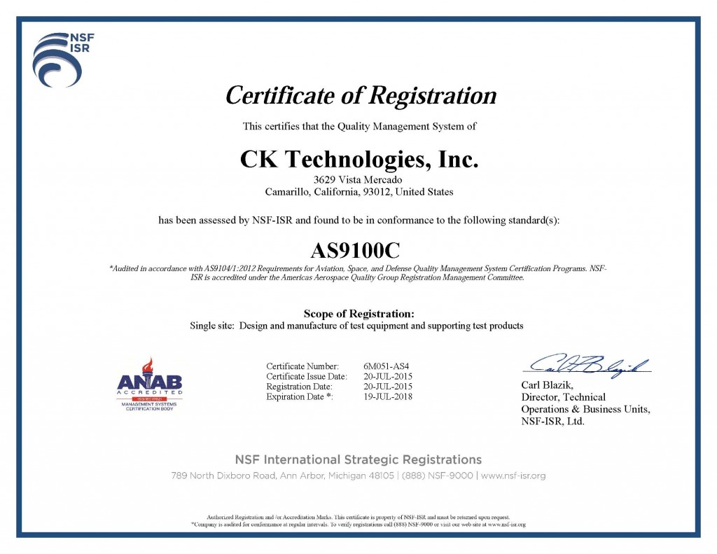CK Technologies, Inc. AS Cert